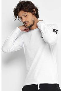 Camiseta Rg 518 Básica Manga Longa Com Bordado Masculina - Masculino-Branco