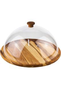 Boleira De Madeira Woodart Teca Com Tampa Em Acrílico Madeira - Kanui