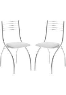 Cadeira Carraro 146 Branco,Cromado 2 Cadeiras