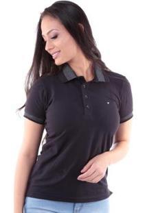 Camisa Polo Regular Pé De Gola Traymon Feminina - Feminino-Preto