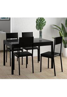 Conjunto De Mesa De Cozinha Com Tampo De Vidro Easy Com 4 Cadeiras Preto