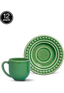 Conjunto 12Pçs Xícaras De Café Porto Brasil Atenas Verde