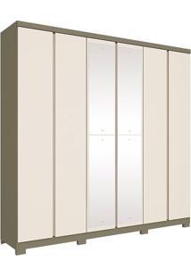 Guarda Roupa Casal Com 6 Portas E 4 Espelhos Mango-Henn - Duna / Off White