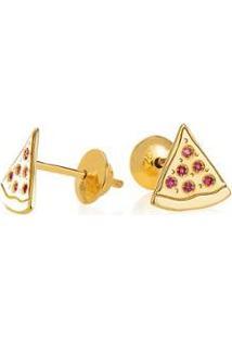 Brinco De Ouro Joiasgold 18K Modelo Pizza Com Rubis - Feminino-Dourado