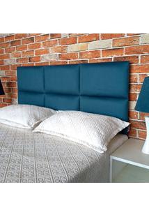 Cabeceira Painel Módena H6 Suede Liso Azul Casal 140 X 60