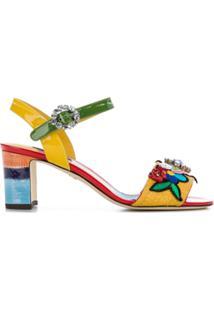 Dolce & Gabbana Sandália Bordada De Couro - Estampado