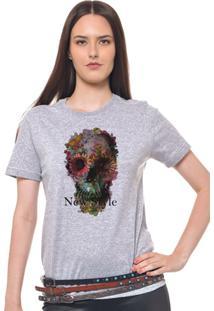 Camiseta Feminina Joss - Caveira Rosas - Feminino-Mescla