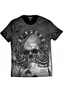 Camiseta Di Nuevo Caveira Com Rosas Black And White Rap Preta