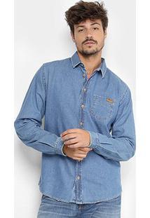 Camisa Jeans Manga Longa Colcci Masculina - Masculino-Jeans