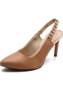 Scarpin Dakota Chanel Luxo Salto Fino Feminino - Feminino-Marrom