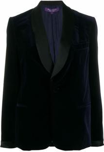 Ralph Lauren Collection Blazer Com Abotoamento Simples Com Contraste - Azul