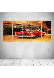 Quadro Decorativo - Red Car Vintage (2) - Composto De 5 Quadros - Multicolorido - Dafiti