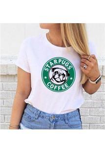 Camiseta Star Pugs Buddies Feminina - Feminino-Branco