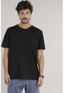 Camiseta Masculina Com Bolso Manga Curta Gola Careca Preta