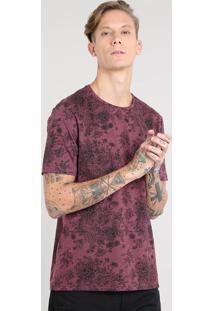 Camiseta Masculina Estampada Floral Manga Curta Gola Careca Vinho