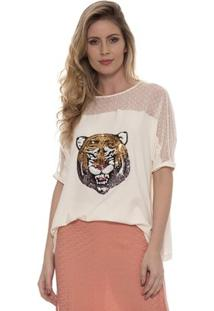 Blusa Bisô Tigre Feminina - Feminino-Creme