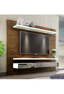 Home Suspenso Para Tv Até 60 Polegadas 100% Mdf 2 Gavetas Com Espelho E Led Tb108E 180 X 220 X 40 Nobre/Off White - Dalla Costa