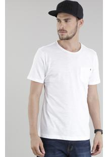 Camiseta Flamê Com Bolso E Ilhós Branca