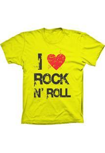 Camiseta Baby Look Lu Geek I Love Rock Amarelo