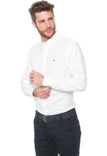 Camisa Tommy Hilfiger Reta Logo Branca
