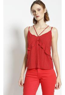 Blusa Com Babados - Vermelha & Brancalez A Lez