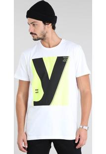 "Camiseta Masculina Com Estampa Neon ""Stay Wild"" Manga Curta Gola Careca Branca"