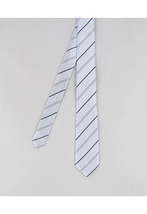 Gravata Masculina Acetinada Listrada Cinza Claro - Único