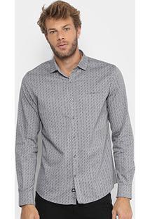 Camisa Ellus 2Nd Floor Mesclada Mini Print Masculina - Masculino-Cinza