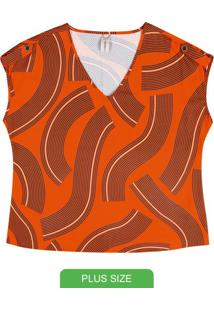 Blusa Estampada Com Decote V Laranja