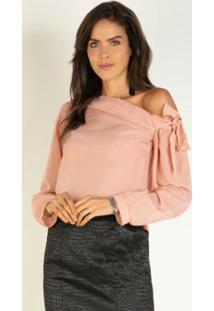 Blusa Rosê Decote Assimétrico E Manga Bufante