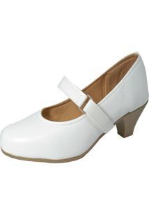 Sapato Social Boneca Fechado Salto Baixo Confort Branco. - Branco - Feminino - Couro Sintã©Tico - Dafiti