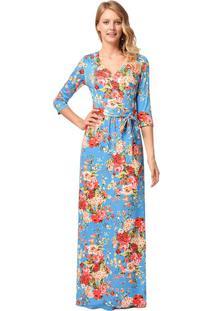 Vestido Longo Florido Com Laço Manga 3/4 - Azul Claro Xg