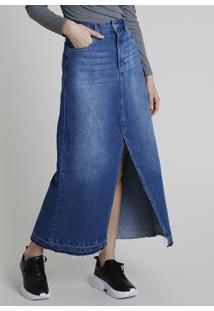 Saia Jeans Feminina Longa Com Fenda Barra Desfiada Azul Escuro