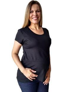 Blusa Calupa Amamentação Gestante Abertura Sobreposta Feminina - Feminino-Preto