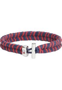 Pulseira Tommy Hilfiger Aço E Nylon Azul E Vermelho - 2790185