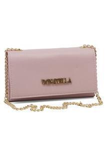 Bolsa Feminina Clutch Corrente Transversal Pequena Rosa