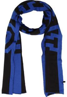 Cachecol Calvin Klein Jeans Logo Preto/Azul