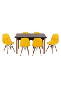 Conjunto Mesa De Jantar Luiza 135Cm Preta Com 6 Cadeiras Botonê - Amarelo