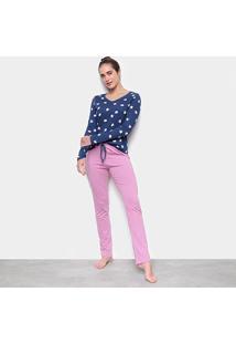 Pijama Hering Longo Estampado Feminino - Feminino-Azul+Rosa