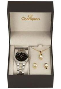 Kit Relógio Feminino Champion Analógico - Cn20499K Com Acessórios - Feminino-Prata