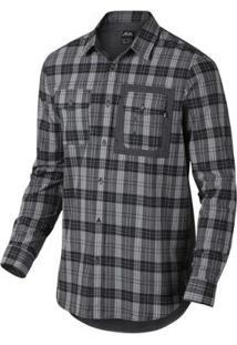 Camisa Oakley Xadrez O-Plaid Woven Masculina - Masculino-Preto
