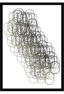 Quadro Com Moldura Grid Branco E Preto (45X32)