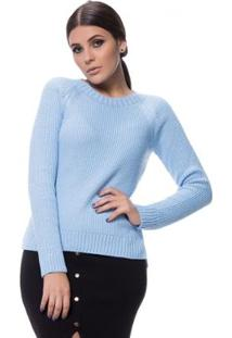 Blusa Logan Tricot Clássica Ponto Arroz - Feminino-Azul