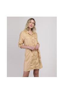 Vestido Chemise Feminino Curto Com Bolsos E Cinto Manga Longa Amarelo