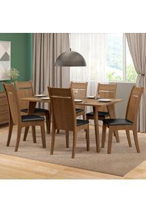 Conjunto De Mesa De Jantar Com 6 Lugares Elise Courino Preto E Rustic