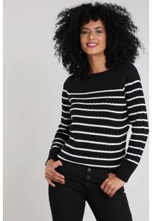 Suéter Feminino Em Tricô Listrado Preto