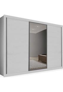 Armário 03 Portas De Correr 2,46 Espelho Central, Branco, Premium Plus Ii