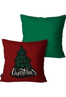 Kit Com 2 Capas Para Almofadas Pump Up Decorativas Natalinas Pinheiro Feliz Natal Verde 45X45Cm