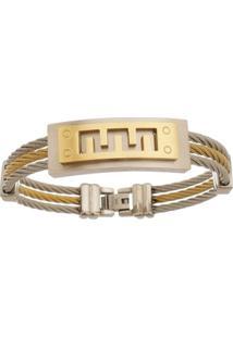 Bracelete De Aço Inox Tudo Joias Dupla Cor Com 15Mm De Largura - Unissex