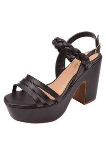 Sandália Trança Chyrrô Calçados Plataforma Preto
